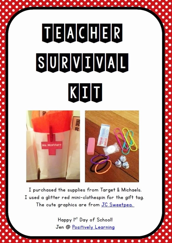 Free August Activities and Printable Resources - teacher survival kit cute note
