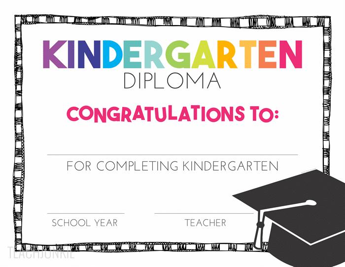 Free Editable Kindergarten Graduation Diplomas