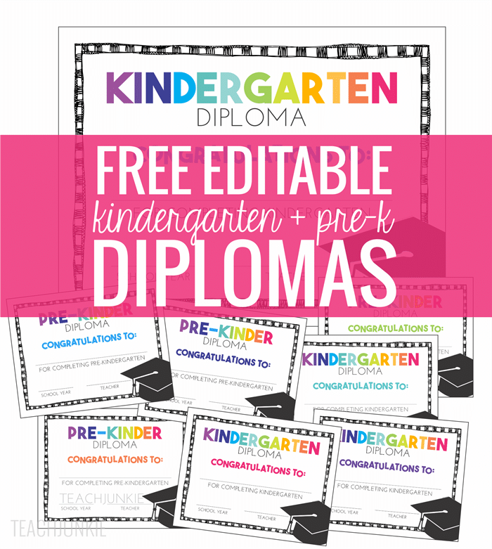 photo relating to Pre Kindergarten Diploma Printable identified as No cost Pre-K and Kindergarten Commencement Diplomas - Educate Junkie