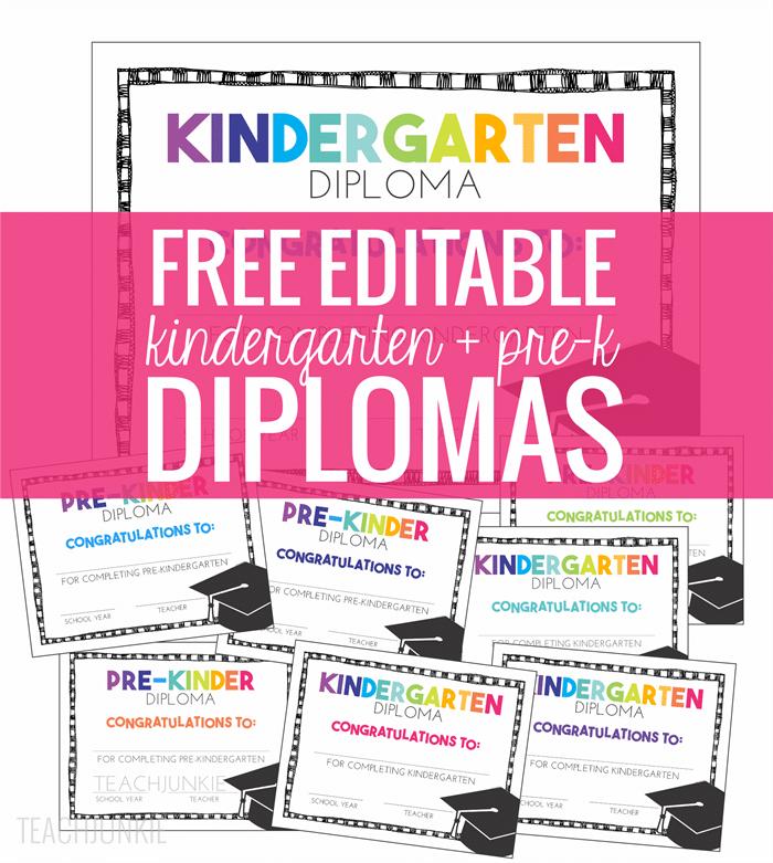 free pre-k and kindergarten graduation diplomas - teach junkie