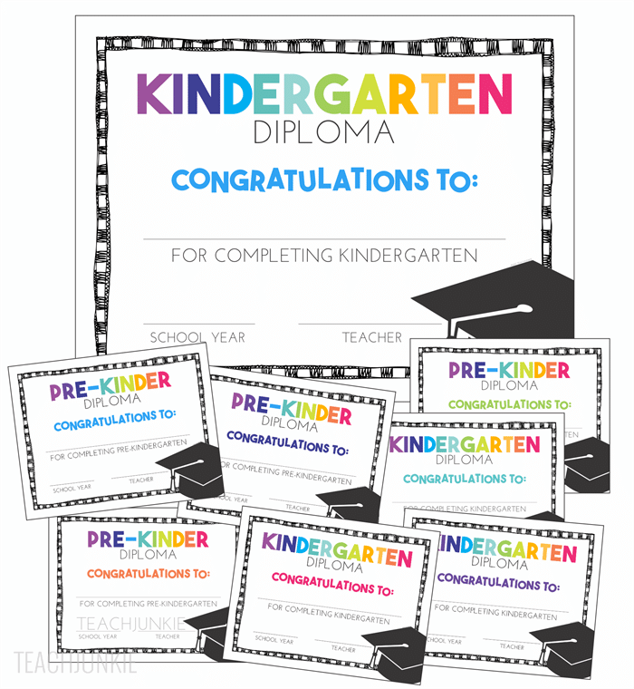 free pre k and kindergarten graduation diplomas teach junkie