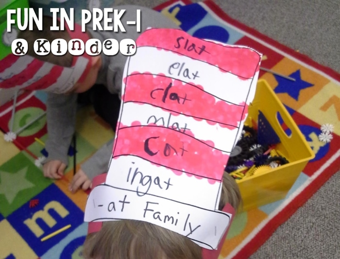 Free March Activities and Printable Resources - Dr Seuss Hat template rhyming word family