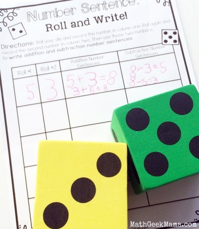 Free November Activities and Printable Resources - number sentences