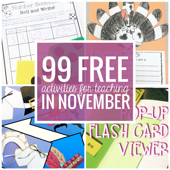 Free November Activities and Printable Resources - Teach Junkie