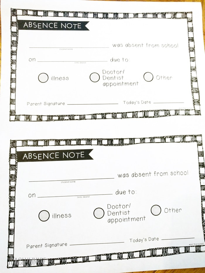Free Printable Absence Notes for the Elementary Classroom