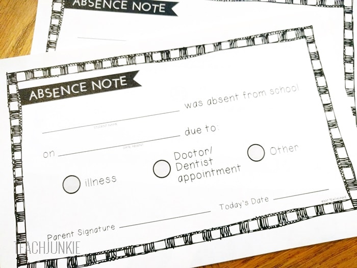 Free Printable Absence Notes