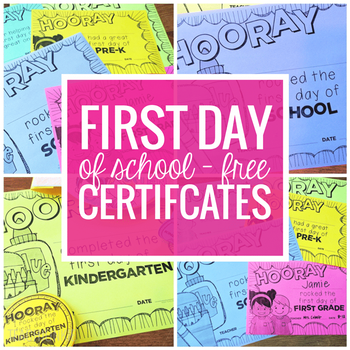 Freebie First Day of School Certificates