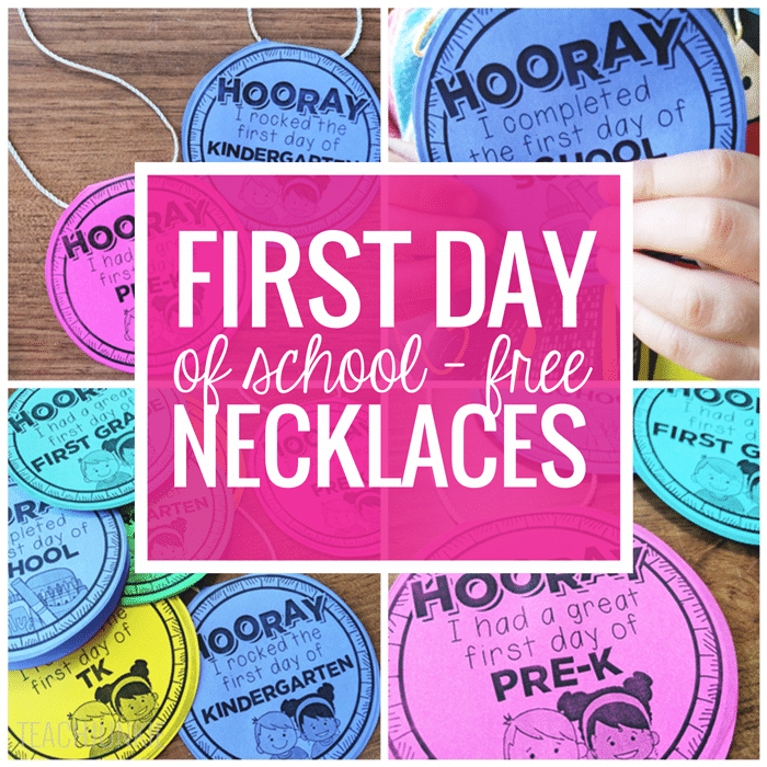 Freebie First Day of School Necklaces