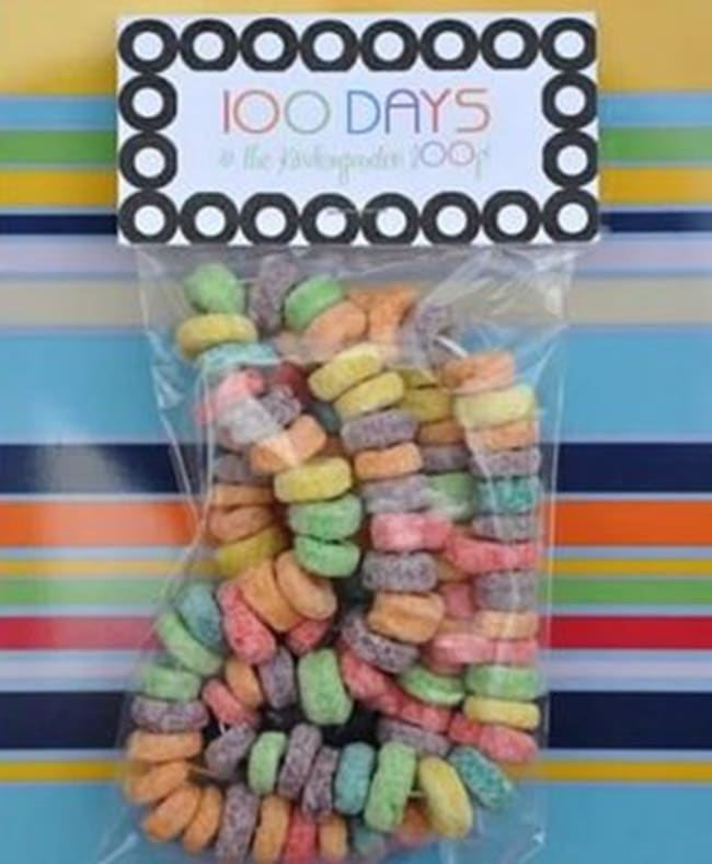 45 Best 100th Day of School Resources - Fruit Loops Printable Snack Bag Topper - Teach Junkie