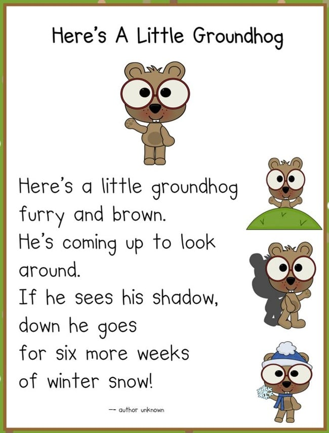 Groundhog Day - 14 Heads Up Ideas - Groundhog poem - Teach Junkie