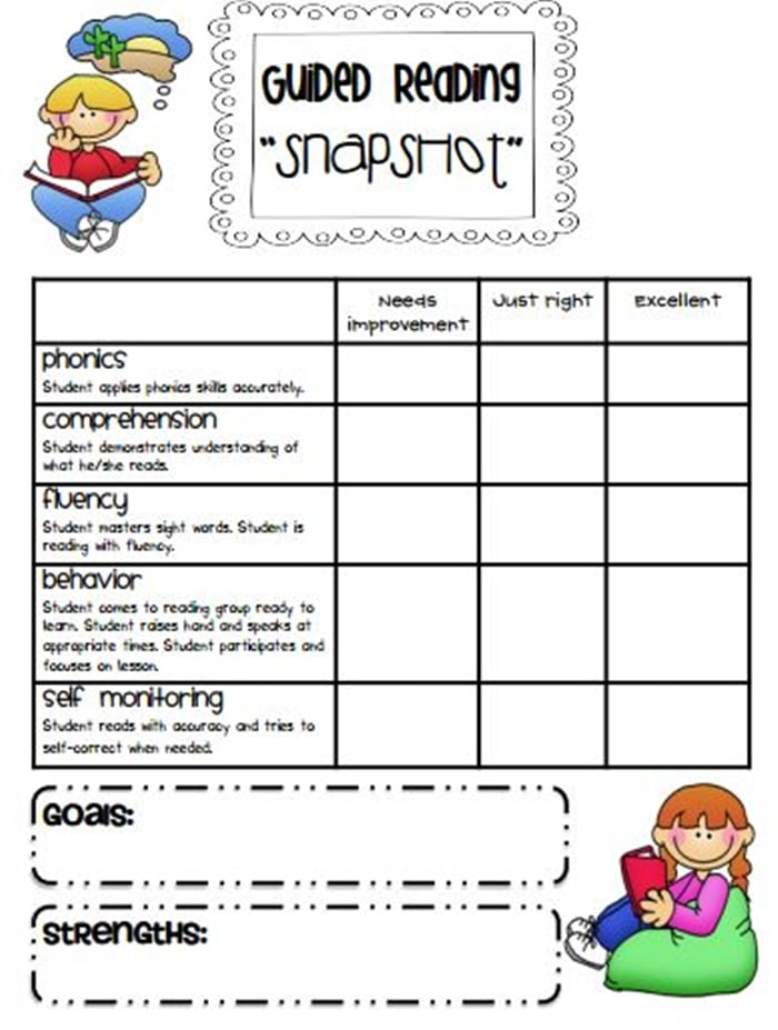 Guided Reading Snapshot Assessments - free quick assessment for guided reading