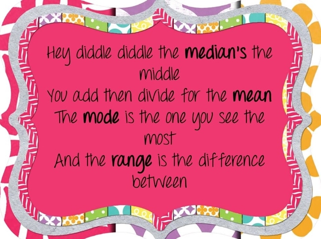 Hey Diddle Diddle Pink Poem - Range Median Mode: 24 Quick, Free Activities and Resources - Teach Junkie