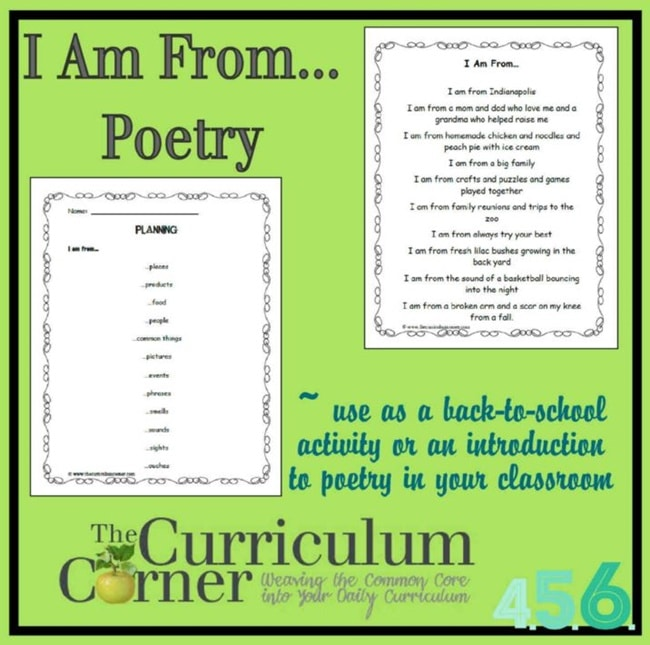 """Easy """"I Am From..."""" List Poem Lesson - Teach Junkie"""