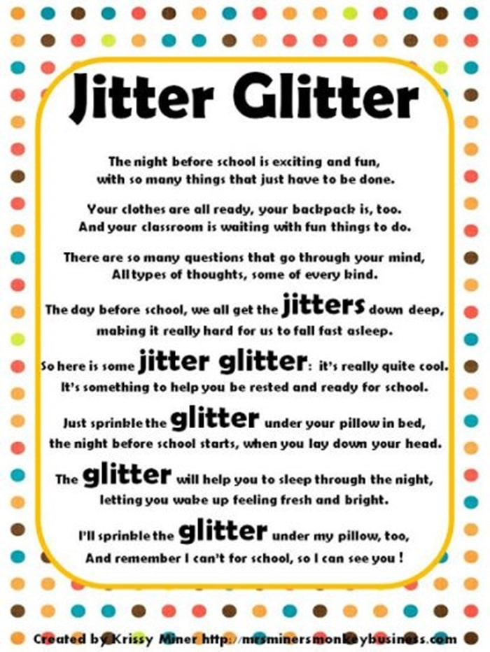 Jitter Glitter Back to School Freebie - Poem