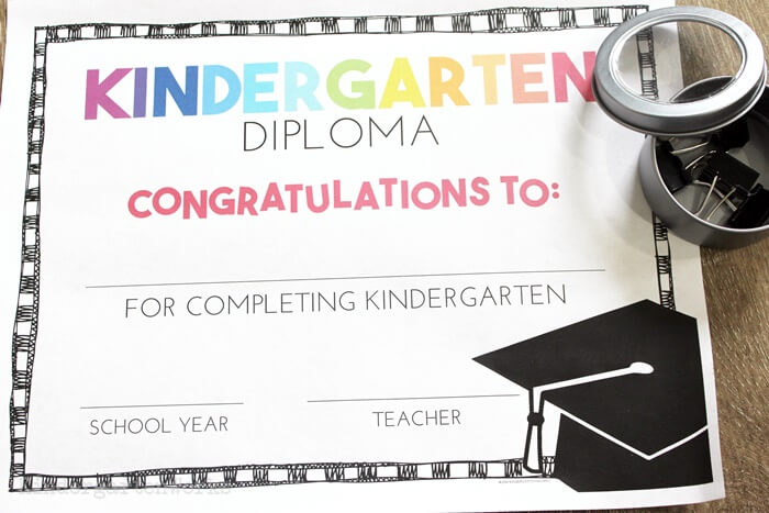 Kindergarten Congratulations Diploma with Graduation Cap