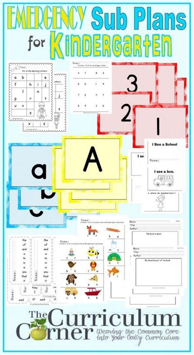 Emergency Substitute Teacher Lesson Plans: Kindergarten - Teach Junkie