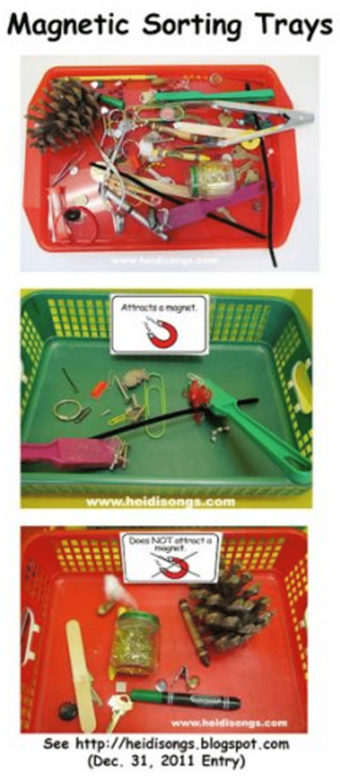 Kindergarten Science Center - What is magnetic and what is not magnetic
