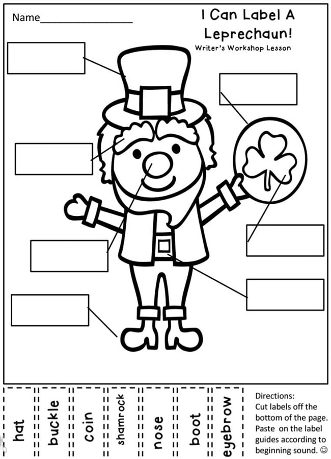 29 Zany St. Patrick's Day Learning Resources - Label a Leprechaun - Teach Junkie