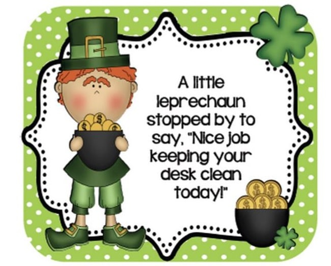 29 Zany St. Patrick's Day Learning Resources - Leprechaun Desk Cards - Teach Junkie