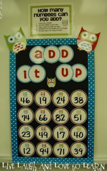 Make an Add It Up Math Boggle Board for Your Classroom - bulletin board