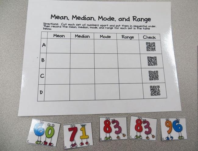 Mean, Median, Mode, Range QR Code Activity - Teach Junkie