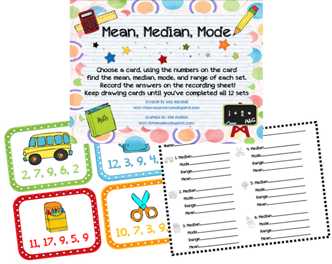 Mean, Median, Mode School Cards - Range Median Mode: 24 Quick, Free Activities and Resources - Teach Junkie