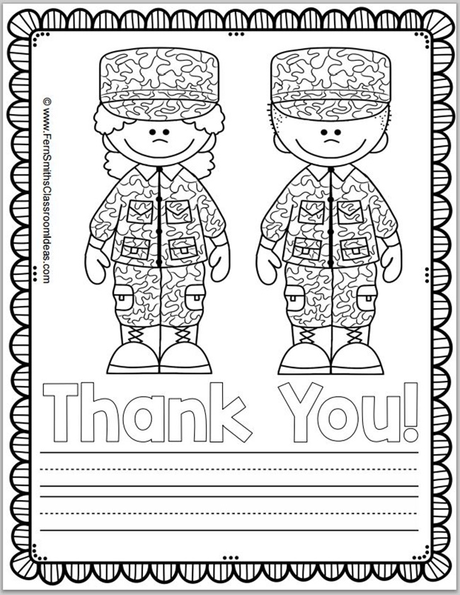 Free Memorial Day Coloring Page and Thank You Notes - Teach Junkie