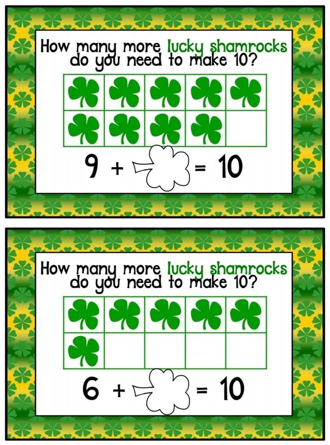29 Zany St. Patrick's Day Learning Resources - Missing Addends to 10 - Teach Junkie