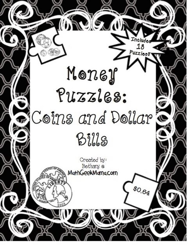 Free Money Puzzles: Counting Coins and Bills - Teach Junkie