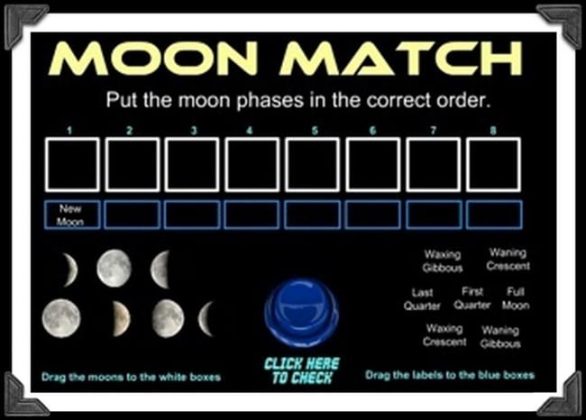 21 Super Activities for Teaching Moon Phases - Moon Match - Teach Junkie