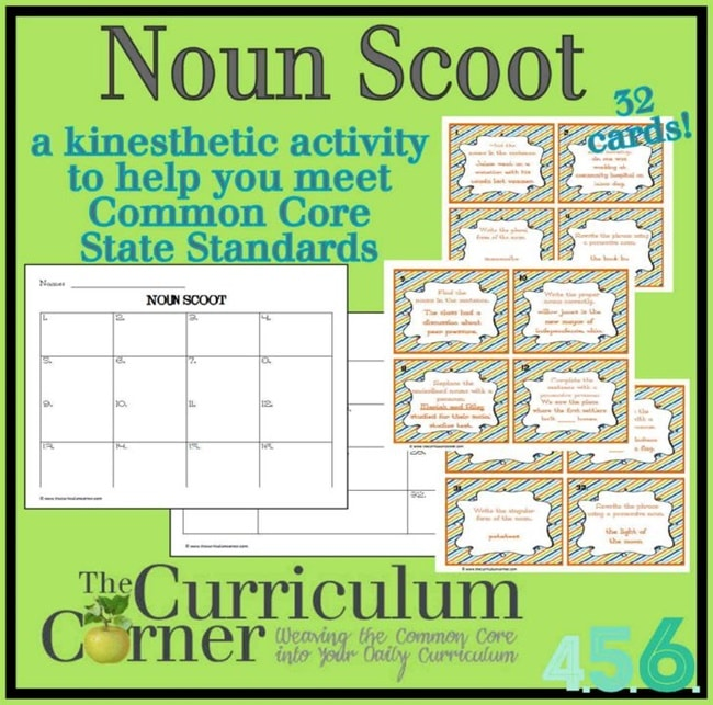 Noun Game: Scoot Style for 4th, 5th and 6th - Teach Junkie