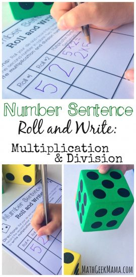 Free Multiplication and Division Activity: Roll and Write a Number Sentence