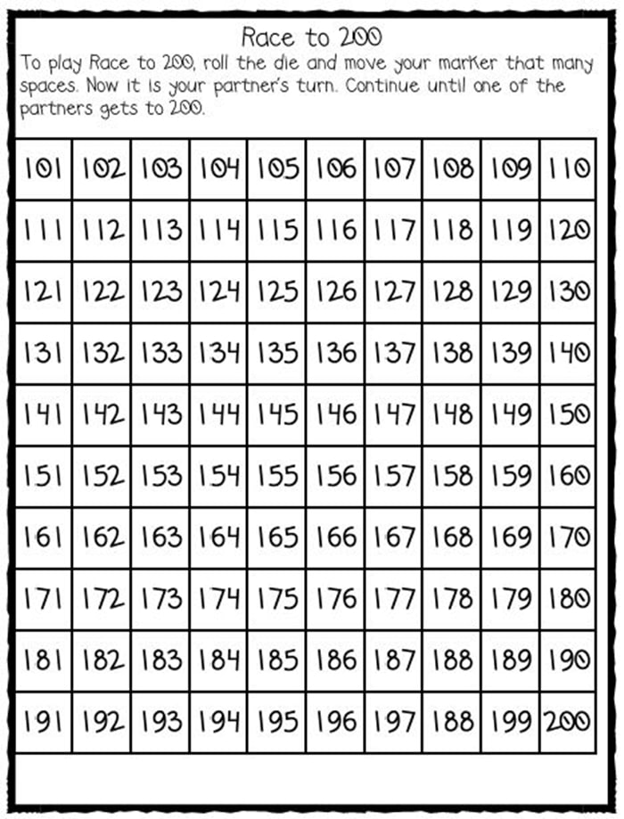 Numbers 100-120 Freebies race to 200 game