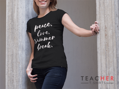 Peace Love Summer Break Teacher T-Shirt