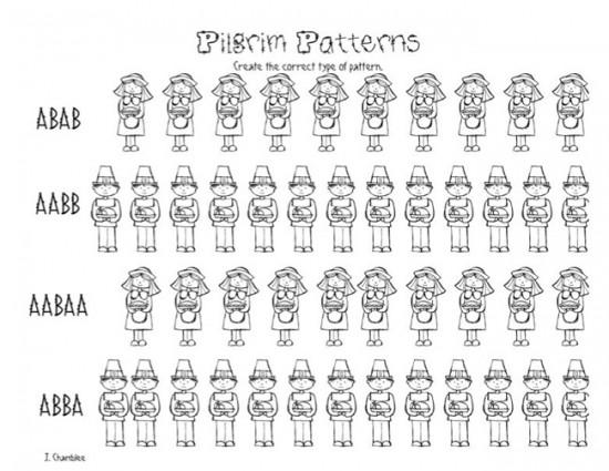 Pilgrim Patterns: Free Kindergarten Worksheet - Teach Junkie