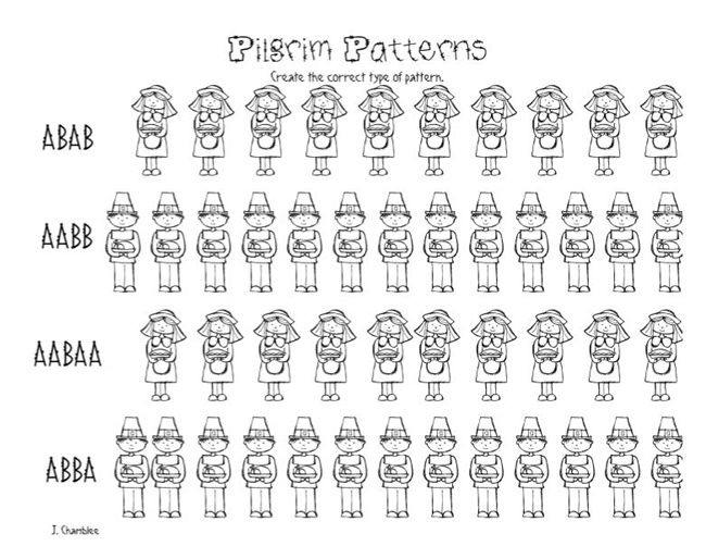 Pilgrim Patterns: Free Kindergarten Worksheet - Teach Junkie