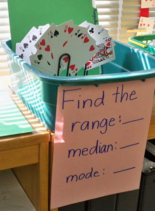 Playing Cards Math Center - Range Median Mode: 24 Quick, Free Activities and Resources - Teach Junkie