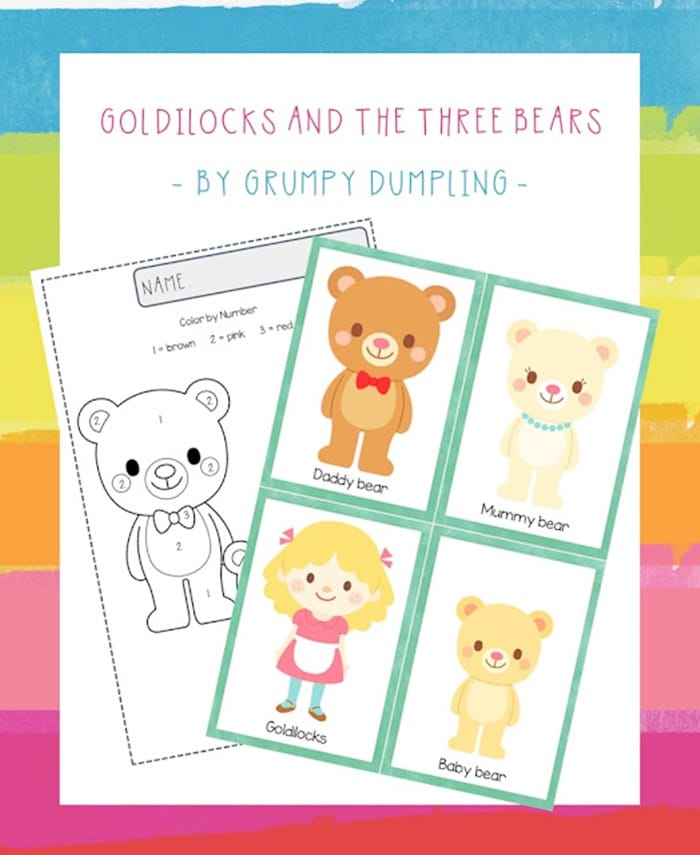 Preschool Goldilocks and the Three Bears Printable Worksheet - Character Retelling