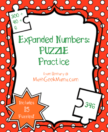 Expanded Form Number Puzzles {Printable} Teach Junkie