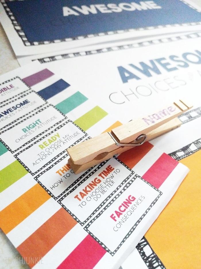 Rainbow Clip Chart Freebie - clothespins