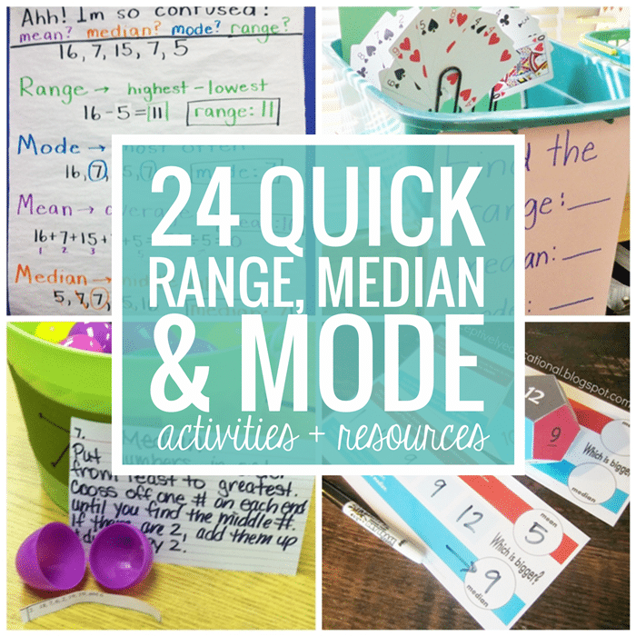 Range Median Mode - 24 Quick, Free Activities and Resources