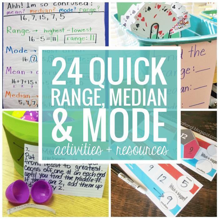 Range Median Mode - 24 Quick, Free Activities and Resources