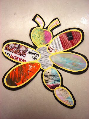 Recycled Paper Daisies & Dragonfly Art Project