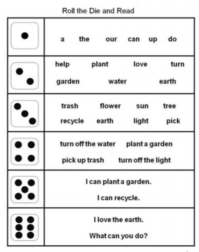 Dice Games Rock! Earth Day Vocabulary Roll and Read - Teach Junkie