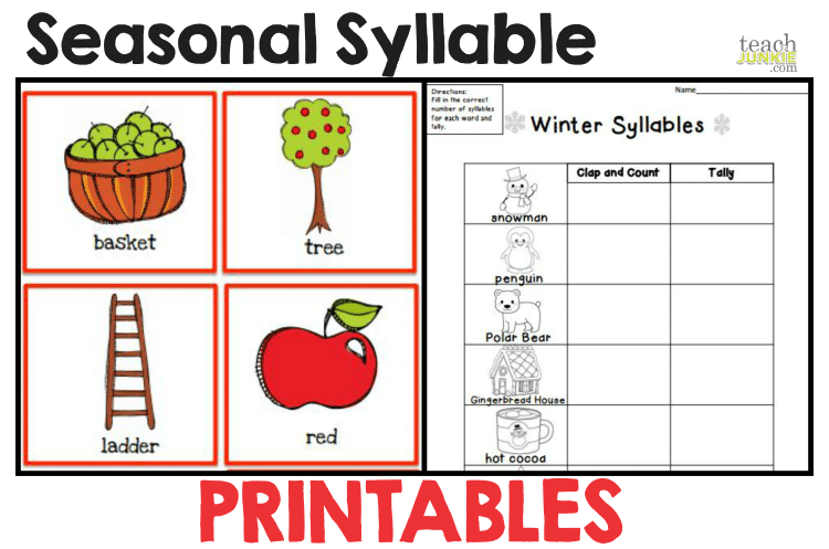 Seasonal Syllable Printable Activities Worksheet : Syllables - 8 Easy to Print Activities Teach Junkie