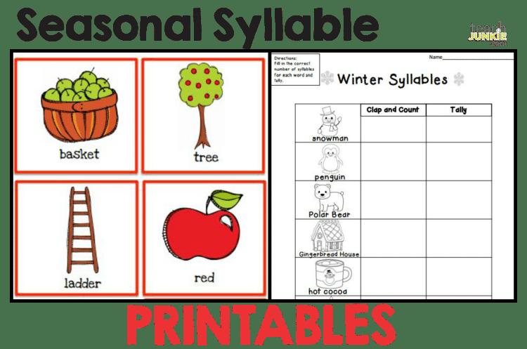 Seasonal Syllable Printable Activities Worksheet : Syllables - 8 Easy to Print Activities Teach Junkie