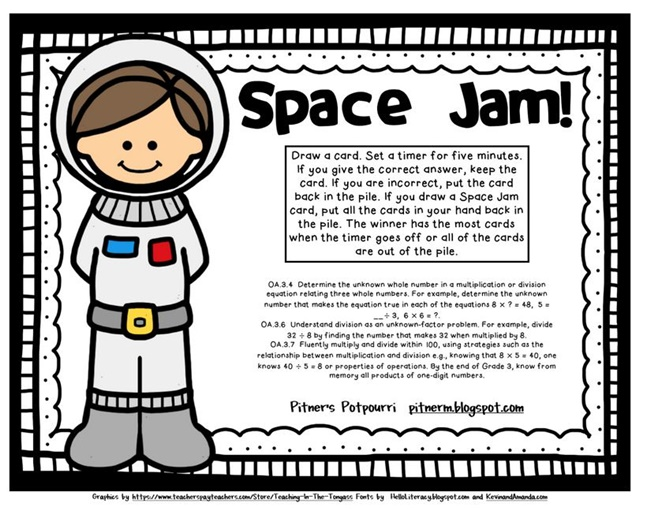 Multiplication Fluency Space Jam Game {Printable} - Teach Junkie