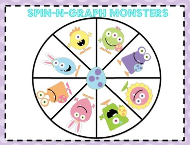 5 Graphing Measurement and Data Activities for Fun - Spin N Graph Monsters - Teach Junkie