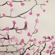 Pinkalicious Spring Japanese Cherry Blossom Art