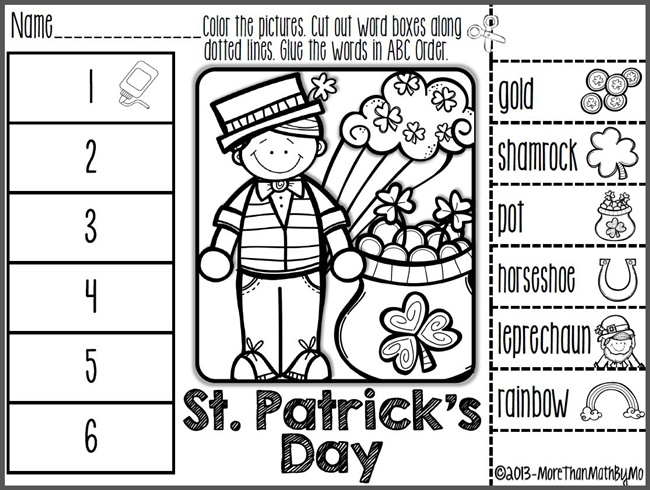 29 Zany St. Patrick's Day Learning Resources - St. Patrick's Day ABC Order Cut and Paste Printable - Teach Junkie